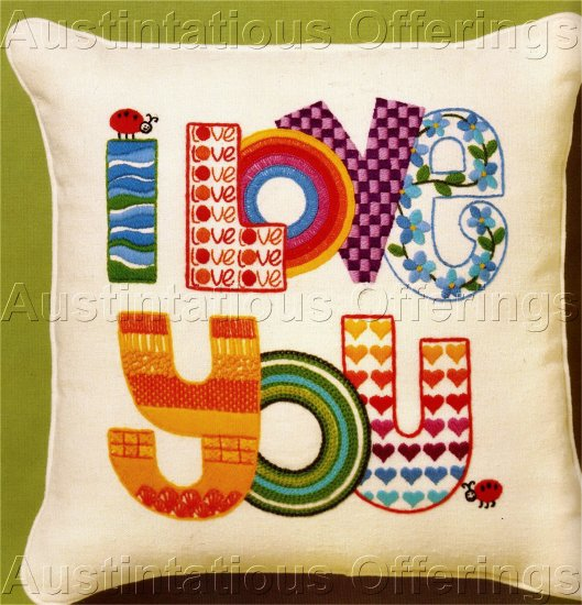 RARE DAVENPORT I LOVE YOU CREWEL EMBROIDERY PILLOW KIT CONTEMPORARY RAINBOW COLORS LADY BUG