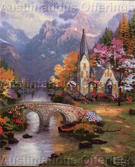 THOMAS KINKADE EMBELLISHED CROSS STITCH KIT LAMPLIGHT BROOKE 50837
