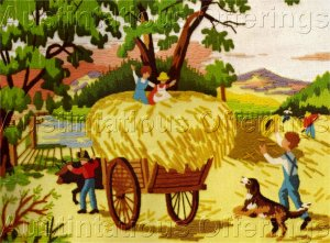 RARE RIENSTRA  FOLK ART FARM HARVEST TIME CREWEL EMBROIDERY KIT HAYRIDE
