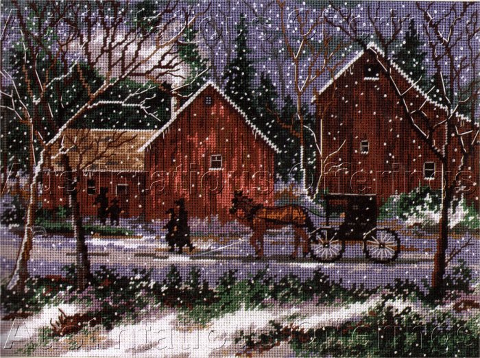 RARE KOENIG AMISH BARNS WINTER  SNOW NEEDLEPOINT KIT HOLIDAY