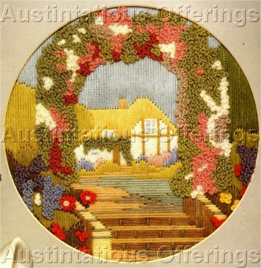 RARE SUMMER COTTAGE ARBOR LONGSTITCH NEEDLEPOINT KIT TEXTURED FLORALS