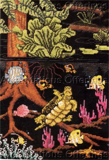 RARE TROPICAL WATERS CROSS STITCH KIT ABOVE AND BELOW SEA LEVEL!