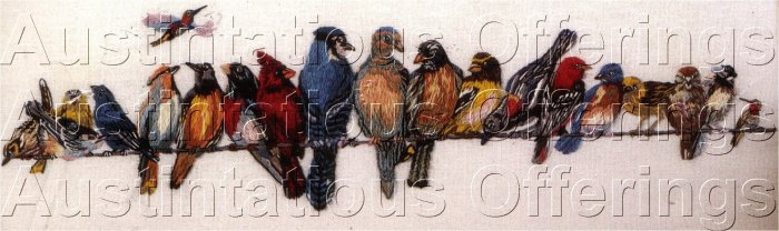 RARE WENDY WEGNER BIRD CHORUSLINE CREWEL EMBROIDERY KIT SONGBIRDS
