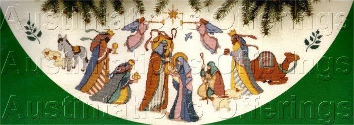 RARE HOLY FAMILY BLESSED NATIVITY TREE SKIRT KAREN AVERY MAGI WISEMEN HERALD ANGELS