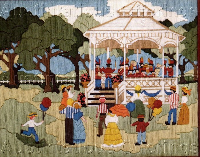 GOOD OLD SUMMERTIME LONGSTITCH NEEDLEPOINT KIT SOUSA BAND STYLE OUTDOOR CONCERT