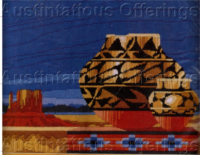 RARE SOUTHWEST POTTERY LONGSTITCH NEEDLEPOINT KIT REINARDY PUEBLO STILL LIFE