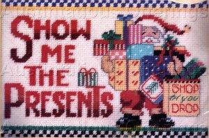 RARE LINDA GILLUM CHRISTMAS  PRESENTS NEEDLEPOINT SAMPLER PICTURE / PILLOW KIT