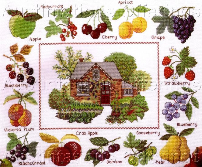 RED BRICK COTTAGE CROSSSTITCH SAMPLER KIT FRUIT ORCHARD