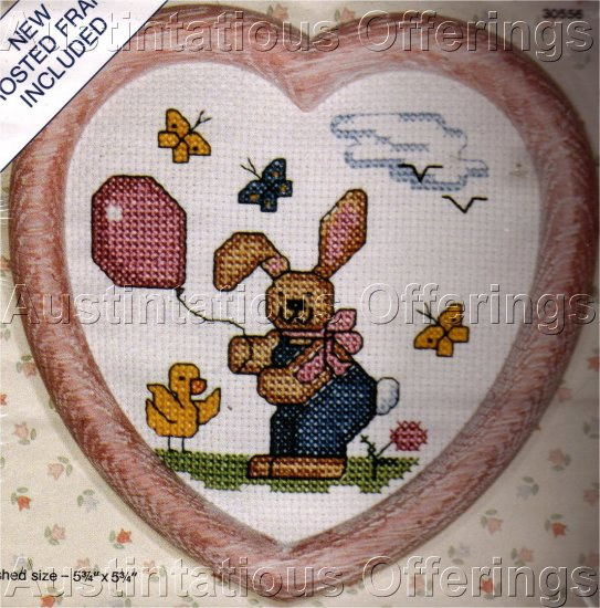 CROSS STITCH HEART KIT BUNNY, DUCK, BUTTERFLIES,BALLON