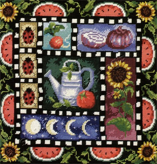 RARE C WINTERLE OLSON FRUIT VEGETABLE GARDEN WOOL NEEDLEPOINT KIT SUNFLOWERS