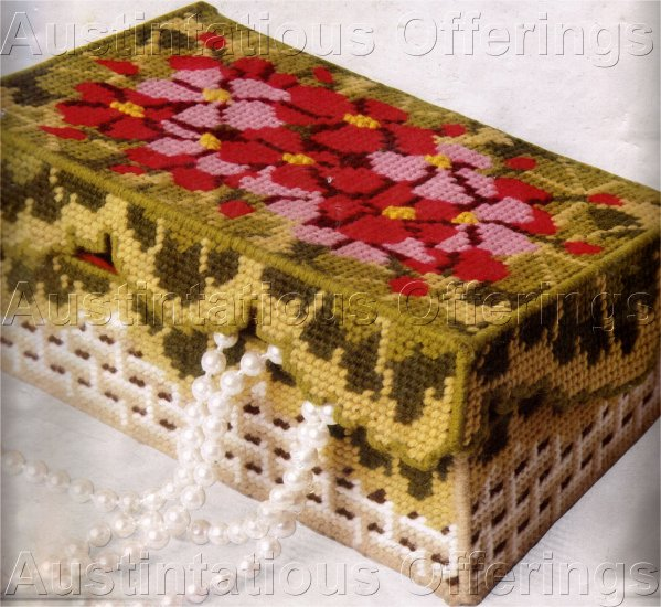 RARE GLADSTONE GERANIUM  JEWELRY TREASURE BOX PLASTIC CANVAS NEEDLEPOINT KIT SEWING NOTIONS