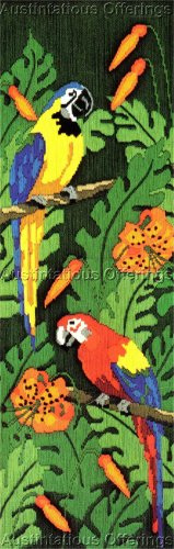 RARE TROPICAL PARADISE LONGSTITCH NEEDLEPOINT KIT MACAWS LILIES