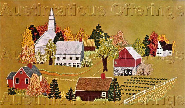 RARE REED FOLK ART NEW ENGLAND FARM CREWEL EMBROIDERY KIT