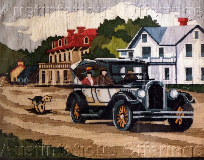 RARE ANTIQUE CAR LONGSTITCH NEEDLEPOINT KIT VINTAGE CHRYSLER