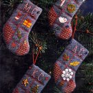 RARE CHRISTMAS SAMPLER CREWEL EMBROIDERY STOCKING ORNAMENTS KIT ADVENT GOODIES