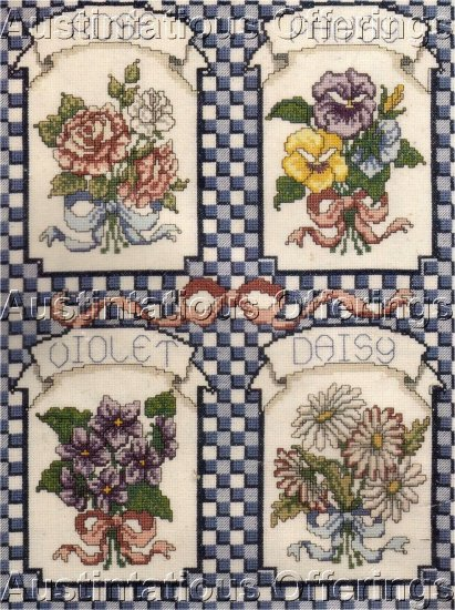 NOSTALGIC FLOWER SEED PACKET CROSS STITCH KIT GINGHAM CHECKS