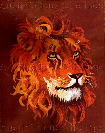 RARE AFRICAN PLAINS LION CREWEL EMBROIDERY KIT BIG CAT KING OF BEASTS