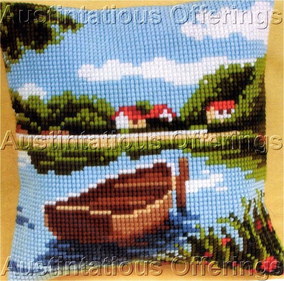 RARE LAKESIDE FISHING BOAT LARGE COUNT NEEDLEPOINT KIT