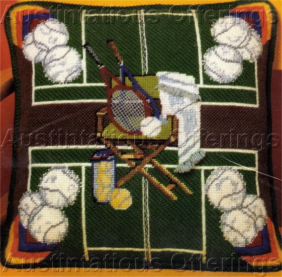 RARE RACQUET SPORTS FAN NEEDLEPOINT PILLOW KIT TENNIS PLAYER