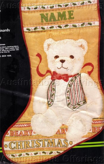 RARE REINARDY CHRISTMAS BEAR HOLIDAY SCULPTURED CREWEL EMBROIDERY STOCKING KIT TEDDY BEAR