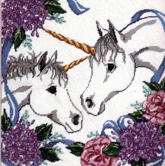 MAGICAL UNICORN PAIR NEEDLEPOINT PILLOW /  PICTURE KIT UNICORNS IN HYDRANGEAS & PEONIES