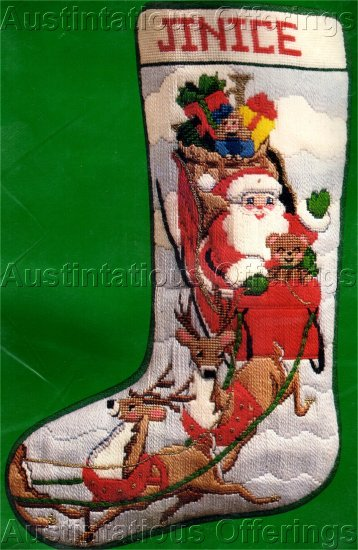 RARE BEACON SANTA'S SLEIGH RIDE CHRISTMAS LONGSTITCH  NEEDLEPOINT STOCKING KIT