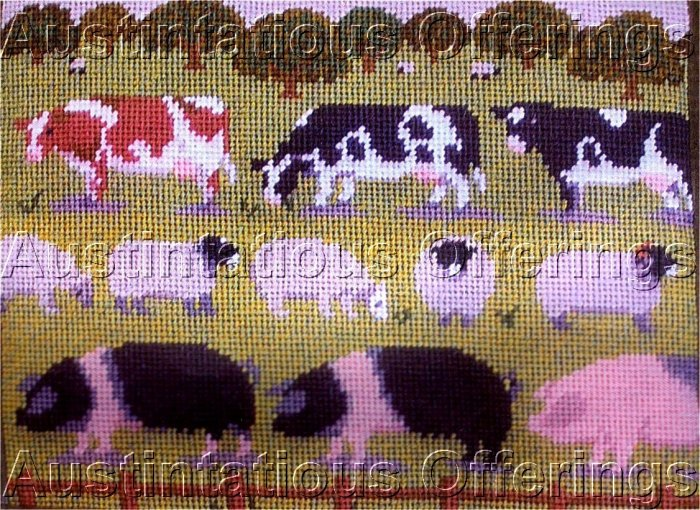 RARE FEI COLLECTION FOLK ART FARM ANIMALS NEEDLEPOINT KIT APPLETON WOOLS
