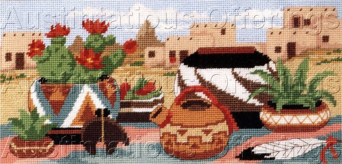 NATIVE AMERICAN POTTERY NEEDLEPOINT KIT SOUTHWEST PUEBLOS CACTUS