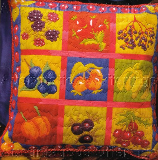RARE  BRIGHTJEWEL TONES  AUTUMN FRUIT SAMPLER LONGSTITCH NEEDLEPOINT PILLOW KIT