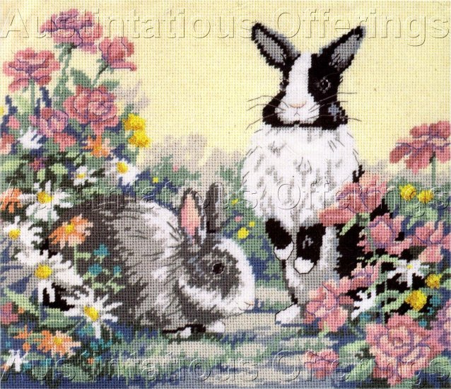 RARE DUTCH RABBIT PAIR NEEDLEPOINT KIT SPRING  BUNNIES IN GARDEN EASTER