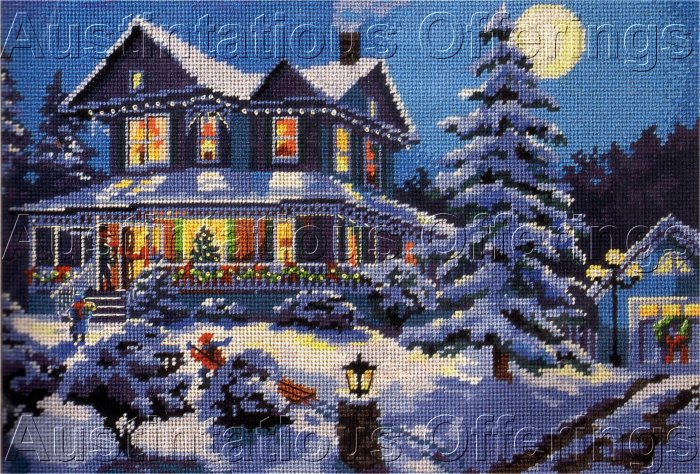 RARE DERTNER HOLIDAY HOME GATHERING NEEDLEPOINT KIT WINTER'S NIGHT