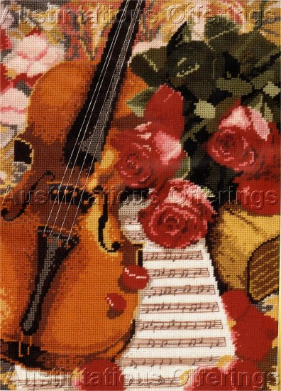 RARE WILLIAMS MUSICAL STILL LIFE NEEDLEPOINT KIT ROMANCE AND ROSES