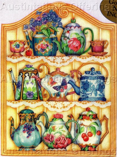 RARE BARBARA BAATZ TEAPOT COLLECTOR CREWEL EMBROIDERY KIT CHINA TEA POTS