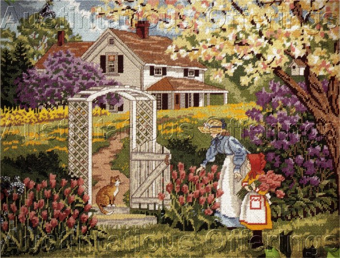 RARE SLOANE GARDEN STROLL NEEDLEPOINT KIT SPRING FARM HOUSE
