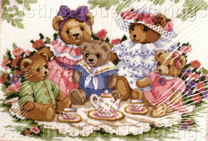 HARD TO FIND VICTORIAN TEDDY BEAR TEA PARTY PICNIC CROSS STITCH KIT