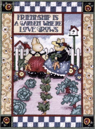 NINA SHAFFER BUNNIES CROSS STITCH KIT FRIENDSHIP IS A GARDEN