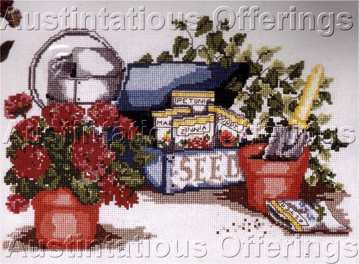 RARE HEIRLOOM TREASURE GARDEN SEED PACKETS CROSS STITCH KIT GERANIUMS