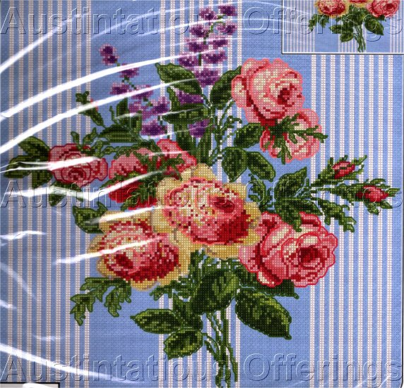 SPRING ROSE POSY CROSS STITCH PILLOW KIT BLUE TICKING STRIPES