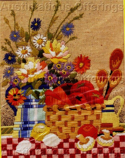 RARE  REINARDY COUNTRY STILL LIFE LONGSTITCH NEEDLEPOINT AND CREWEL KIT