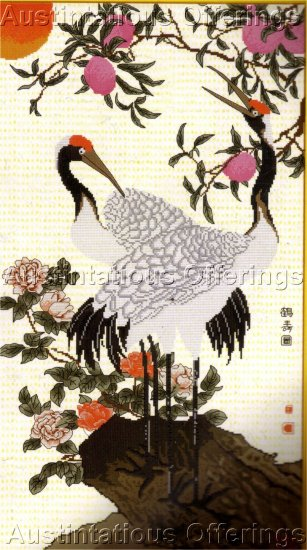 HARD TO FIND ORIENTAL CRANES & PLUM TREE CROSS STITCH KIT