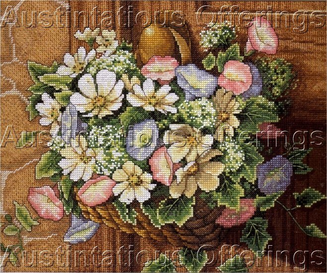 SPRING BOUQUET IN A BASKET CROSS STITCH KIT FLORAL DOOR DECOR