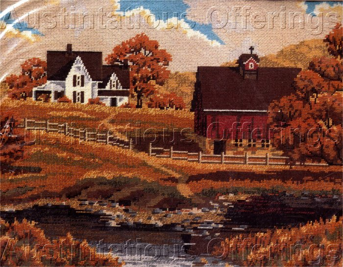 RARE SLOANE AUTUMN FARM WOOL NEEDLEPOINT KIT RED BARN FARMHOUSE