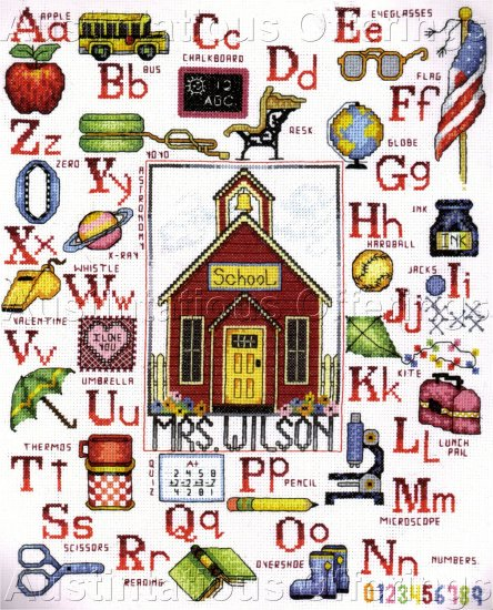 LITTLE RED SCHOOL HOUSE CROSS STITCH SAMPLER KIT FOR TEACHER