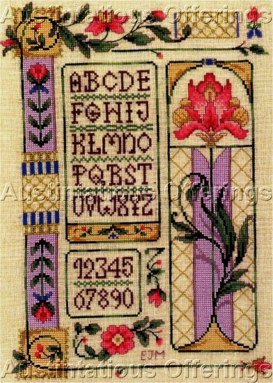 HARD TO FIND JOAN MARCHIE ART DECO LINEN CROSS STITCH SAMPLER KIT WILLIAMS AVALON IRIS FLORAL
