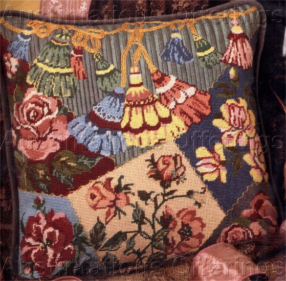RARE VICTORIAN TASSELS CRAZY QUILT NEEDLEPOINT PILLOW KIT