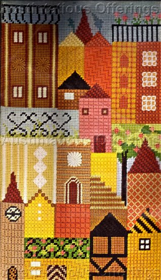 RARE CITYSCAPE TEXTURED NEEDLEPOINT KIT CITY HOUSES