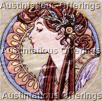 RARE ART NOUVEAU LONGSTITCH NEEDLEPOINT KIT MUCHA WITH LAUREL