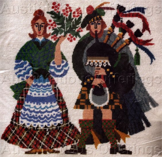 RARE SCOTSMAN FOLK ART NEEDLEPOINT PICTURE / PILLOW KIT BAGPIPES