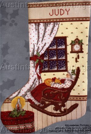RARE MRS CLAUS CROSS STITCH STOCKING KIT WAITING FOR SANTA IN ROCKER