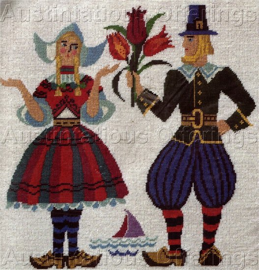 RARE DUTCH FOLK ART NEEDLEPOINT PICTURE / PILLOW KIT TULIP TIME